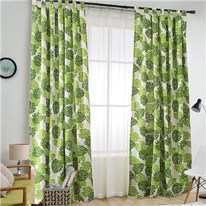 Banana Leaf Printing Curtain Nordic Style Curtain Living Room Bedroom Study Semi Blackout Fabric