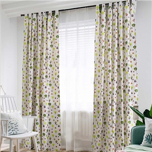 Tree Printing Curtain Simple Rural Curtain Bedroom Living Room Linen Semi Blackout Fabric