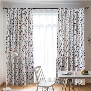 Elk Printing Curtain Simple Christmas Tree Pattern Curtain Living Room Kid's Room Fabric