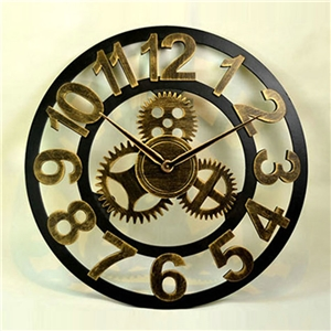 Hollow Vintage Wall Clock Non Ticking Gear Wall Clock A/B/C/D Options