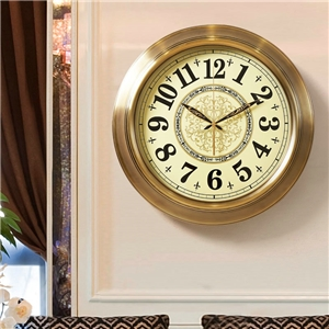 Round Vintage Wall Clock Non Ticking Luxurious Metal Wall Clock A/B Option