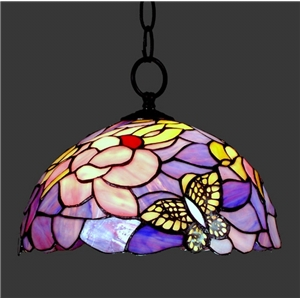 Tiffany Glass Pendant Lights Butterfly Stained Glass 12 Inch Hanging Pendant