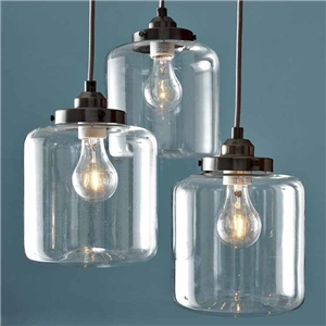 Large Glass Pendant Light Hand Blown Clear Glass 3-Light Ceiling Light