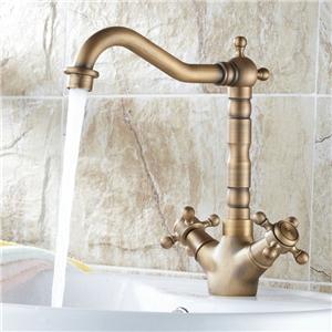 Antique Brass Bathroom Sink Tap Single Hole Two Handles