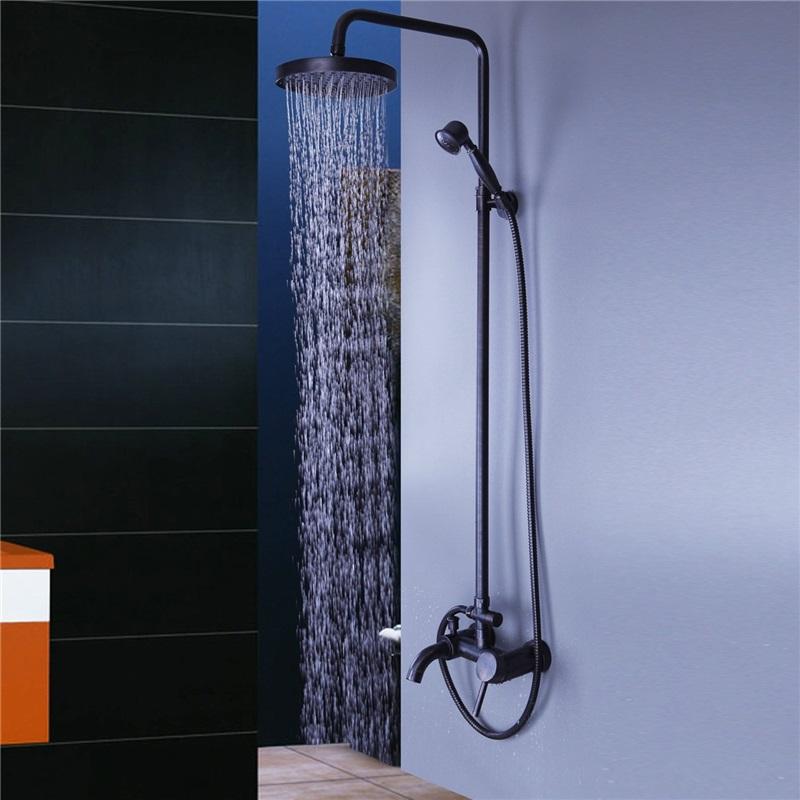 Black Bathroom Shower Idea Exposed Pipe Shower Fixture