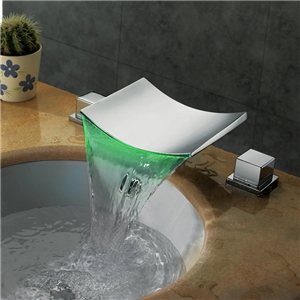 Waterfall Bath Tap Wide Spread Color Changing LED Bathroom Sink Faucet (Chrome Finish)