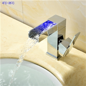 LED Waterfall Sink Faucet Square Chrome Sink Faucet Deck Mounted Hot and Cold Water Tap