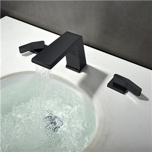 Waterfall Sink Faucet Black Spray Painting Sink Faucet Three-piece Suit