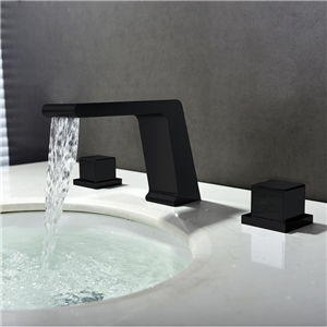 Black Waterfall Sink Faucet Spray Painting Sink Faucet Three-piece Suit