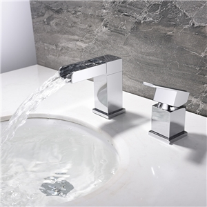 Deck Mounted Sink Faucet Square Waterfall Chrome Sink Fuacet Hot and Cold Water Sink Tap