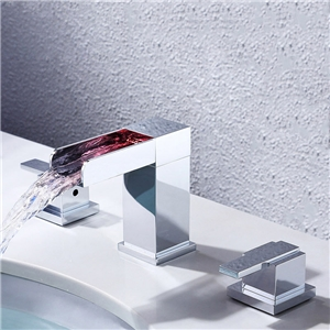 LED Deck Mounted Sink Faucet Square Waterfall Chrome Sink Fuacet Hot and Cold Water Sink Tap Double Handles