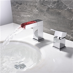 LED Deck Mounted Sink Faucet Square Waterfall Chrome Sink Fuacet Hot and Cold Water Sink Tap