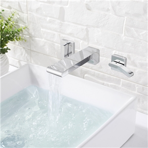 Wall Mounted Bathroom Faucet Waterfall Chrome Faucet Double Handles Tap Hot and Cold Water
