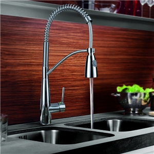 Pull Out Kitchen Faucet Modern Chrome Finish with Pull Out Sprayer