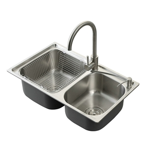 Modern Kitchen Sink 2 Bowls Brushed # 304 Stainless Steel Sink Topmount Sink AOM6640