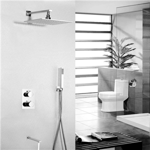 LED Contemporary Wall Mount Shower Faucet (Chrome Finish)