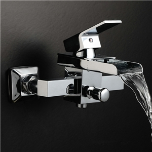 Wall Mount Waterfall Tub Shower Faucet Modern Bathtub Filler