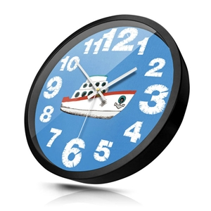 Navy Style Wall Clock Metal Edge Non Ticking Wall Clock 12inch