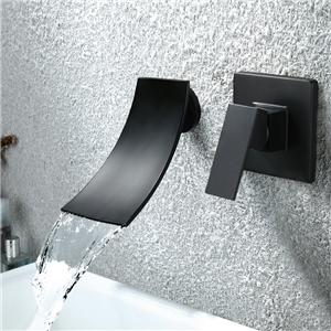 Wall Mount Tub Faucet Baking Varnish Matt Black Bathroom Tub Filler