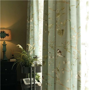 Blue Blackout Curtain American Pastoral Bird Printing Breathable Window Shade