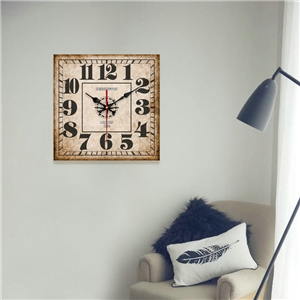 Vintage Wooden Wall Clock Simple Square Mute Wall Clock 14inch