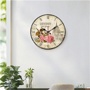 Lovely Rose Wall Clock Wooden Round Mute Wall Clock 12inch