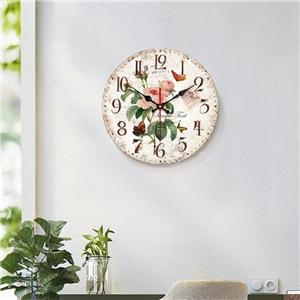 Vintage Wooden Wall Clock Fresh Flower Mute Wall Clock 12inch