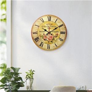 Vintage Flower Wall Clock Round Wooden Mute Wall Clock 12inch