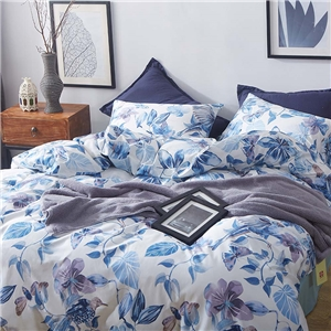 Blue Floral Bedding Set Skin-friendly Soft Bedclothes Environmental Protected Pure Cotton 4pcs Duvet