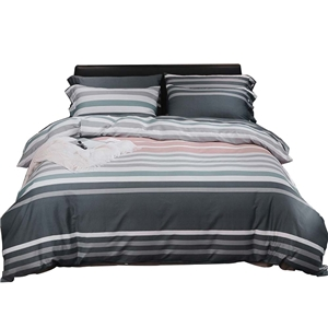 Contrast Stripes Bedding Set Skin-friendly Soft Bedclothes Environmental Protected Pure Cotton 4pcs Duvet