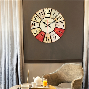 Divisional Numerals Wall Clock European Rural Wooden Mute Wall Clock 12inch