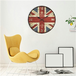 Rural Wooden Wall Clock European Round Mute Wall Clock 12inch Flag/Numerals