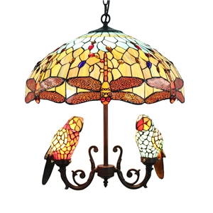 Tiffany Chandelier European Pastoral Retro Style Glass Parrot and Orange Dragonfly Glass Shade Bedroom Living Rroom Dining Room Light 5 Lights