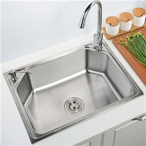 Kitchen Sink Single Bowl # 304 Stainless Steel Sink Topmount Sink  S6045B 24in Silver (Faucet Not Included)