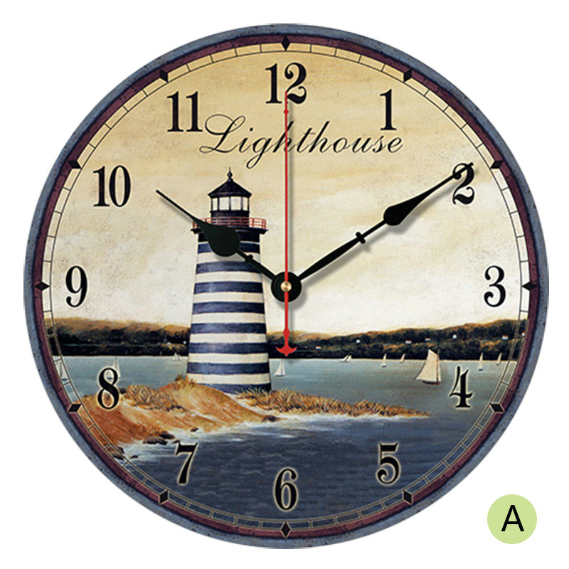 Rural Lighthouse Wall Clock European Style Wooden Mute