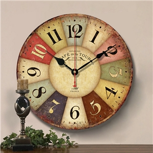 Simple Numerals Wall Clock Vintage Wooden Mute Wall Clock 12inch