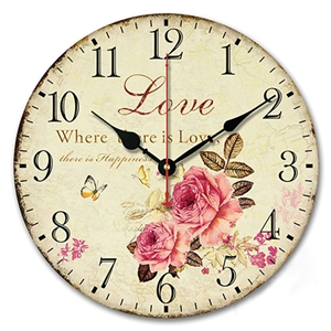 Rural Rose Wall Clock Vintage Wooden Mute Wall Clock 12inch