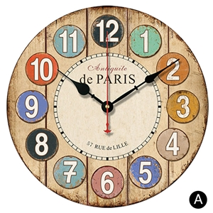 Circled Numerals Wall Clock Round Wooden Mute Wall Clock 12inch