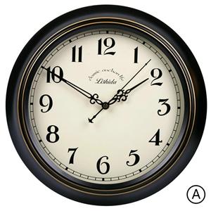 Black Metal Frame Wall Clock Vintage ABS Mute Wall Clock 12inch