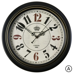 Vintage ABS Wall Clock Black Metal Frame Non Ticking Wall Clock 12inch