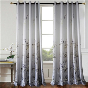 Grey Bamboo Curtain Modern Printing Semi Blackout Curtain Living Room Bedroom Kid's Room Fabric