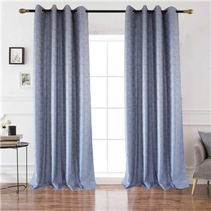Blue Check Jacquard Curtain Nordic Simple Semi Blackout Curtain Living Room Bedroom Kid's Room Fabric