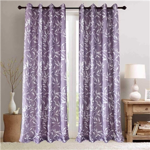 White Leaf Purple Curtain Nordic Simple Semi Blackout Curtain Living Room Bedroom Kid's Room Fabric