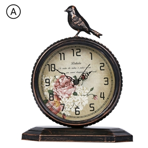 Bird Tabletop Clock Vintage Iron Mute Desk Clock