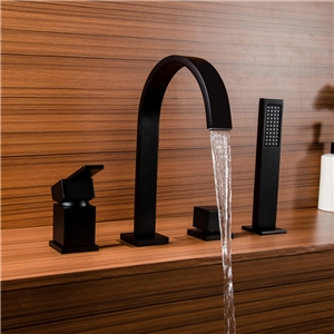 Solid Black Bathtub Faucet Contemporary Deck Mounted Tub Faucet with Hand Shower