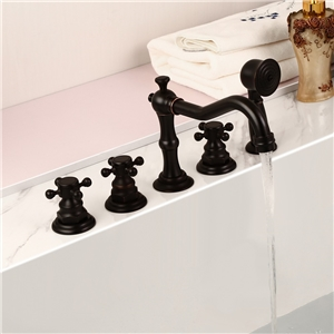 Unusual Bathtub Faucet Classical Antique Black Tub Tap with Hand Shower