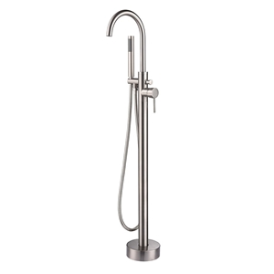 Freestanding Bathtub Faucet Brushed Nickel Floor Mounted Tub Tap with Handshower