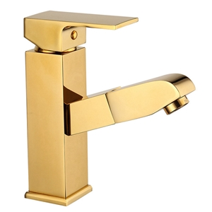 Modern Square Basin Faucet Simple Bathroom Sink Tap with Pullout Spout
