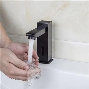 Antique Black Sensor Faucet Touchless Square Bathroom Sink Tap