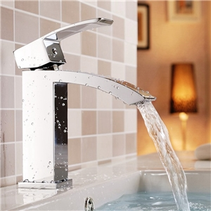 Square Chrome Basin Faucet Waterfall Bathroom Vessel Tap
